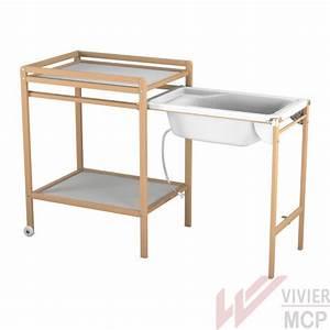 Table à Langer Bébé : table langer avec baignoire coulissante vivier mcp ~ Teatrodelosmanantiales.com Idées de Décoration