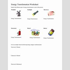 Energy Transformation Worksheet Worksheet For 5th  8th Grade  Lesson Planet