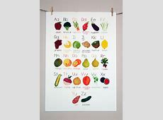 #alphabet Poster AZ Fruit and Vegetable #illustration