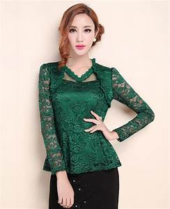 Elegant Emerald Green Lace Floral Tops on Luulla