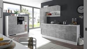 Kuchenblock turn kuche einbaukuche in betonoptik und weiss matt for Küche in betonoptik