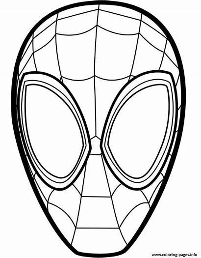 Spider Coloring Mask Miles Pages Morales Verse
