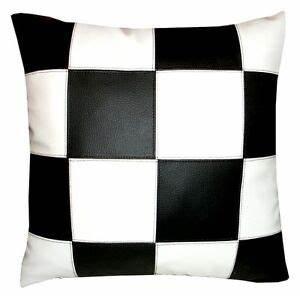 Coussin Ethnique Noir Et Blanc : coussin simili cuir damier noir et blanc 40x40cm ebay ~ Teatrodelosmanantiales.com Idées de Décoration