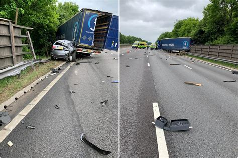 M1 crash: Three lanes closed near Chesterfield after lorry ...