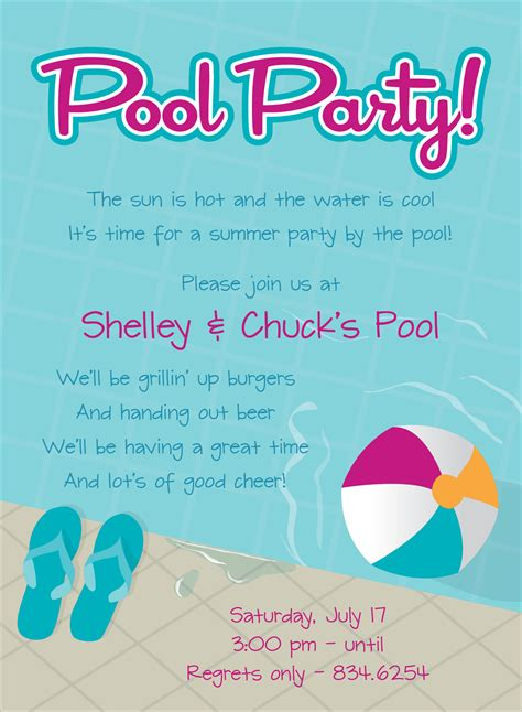 pool party   invitations swimming pool party