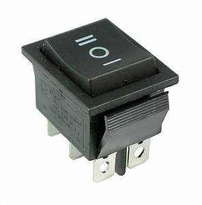 On Off On  Momentary Large Black Rectangle Rocker Switch 6