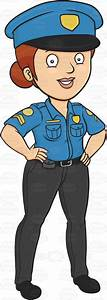 A Lady Police Proudly Standing And On Guard Vector Clip ...