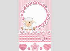 Happy baby sheep pink scrapbook set Stock Vector Colourbox