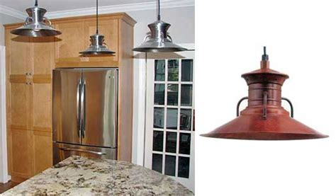 barn light pendants accent modern stainless appliances