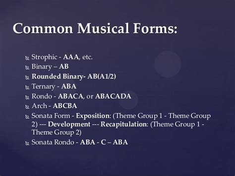 high school presentation forms of music
