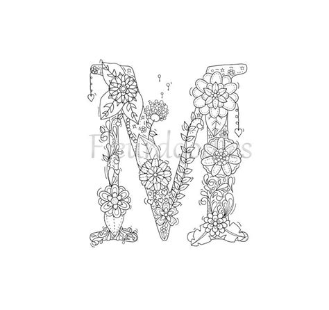 coloring page floral letters nursery alphabet  hand