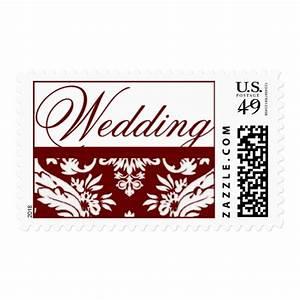 red damask wedding invitation postage stamps zazzle With wedding invitation mailing stamps