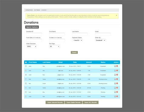 donation form php paypal advanced reporting