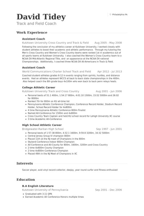 track and field coach resume exle assistant coach resume sles visualcv resume sles database