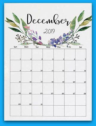december  floral printable calendar printable