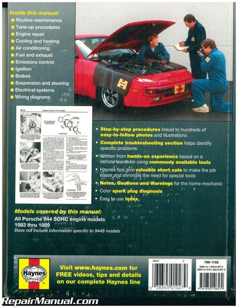 online car repair manuals free 1983 porsche 944 lane departure warning haynes porsche 944 1983 1989 auto repair manual h80035 3834501027900 ebay