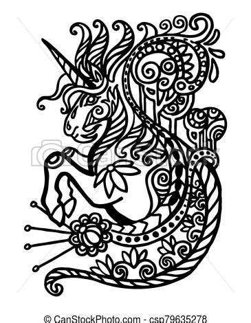 Contour doodle unicorn. Vector hand drawing zentangle