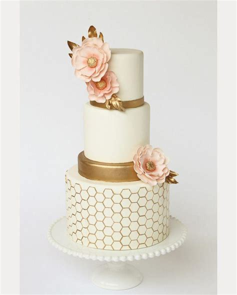 elegant gold  ivory honeycomb wedding cake