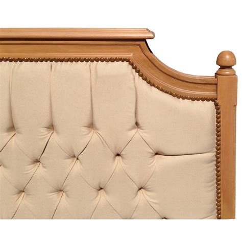 fabric and wood headboard bed headboard french country chic style beech wood and linen fabric