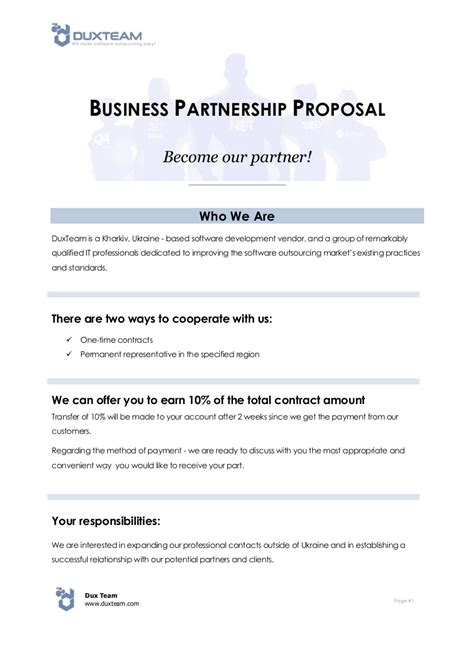 business partnership proposal examples  word