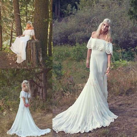 Bohemian Wedding Dresses Cream Ivory Off The Shoulder Lace