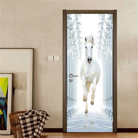 roman column white horse  diy door wall stickers home