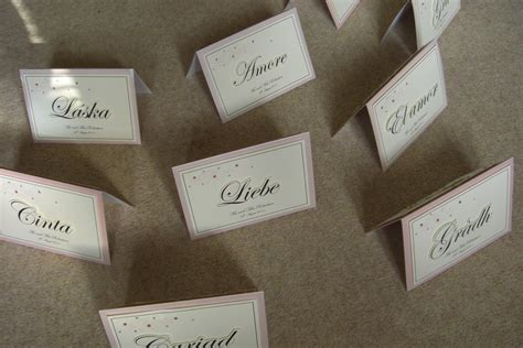 wedding table names using love in different languages