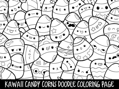 candy corns doodle coloring page printable cutekawaii