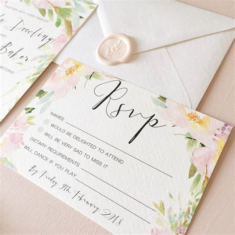 pastel meadow wedding invitation and rsvp by eliza may