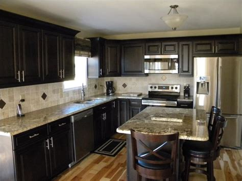 dark kitchen cabinets with light countertops light granite countertops google search kitchen