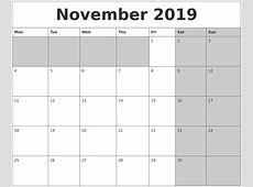 November 2019 Calanders
