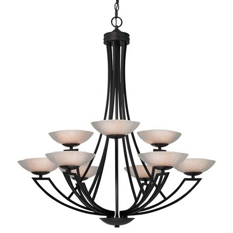 Glass Shades For Chandelier by Bronze Chandelier With Nine Lights And Seeded Glass Shades