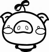 Pig Coloring Cartoon Printable Pigs Sheets Nice Coloringbay sketch template