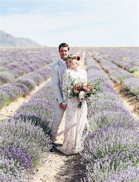 Bridal Portraits In A Lavender Field Green Wedding Shoes