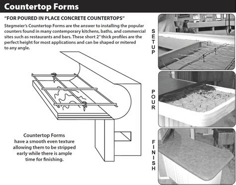 concrete countertop forms styrofoam stegmeier poured in place concrete countertop forms