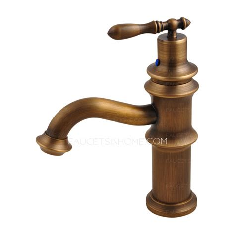 antique brass brushed single handle bathroom sink faucet
