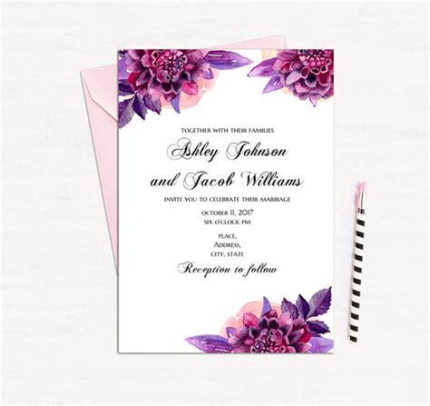 purple floral invitation template wedding invitation