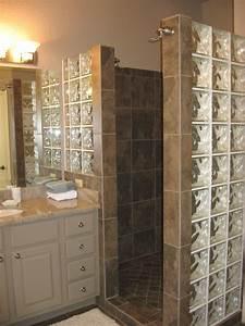 custom walk in shower with no door and glass block for With walk in shower no door