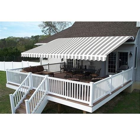 aleko  feet retractable outdoor patio awning deck sunshade    ft graysynthetic