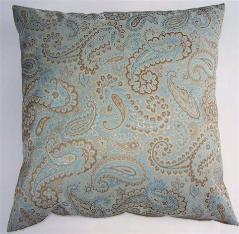 Blue Brown Throw Pillows by Robin Egg Blue And Brown Throw Pillow Cover Paisley