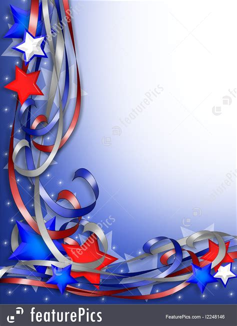 templates patriotic border stars  ribbons stock