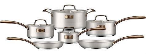 fleischer  wolf cookware review  piece stainless steel copper