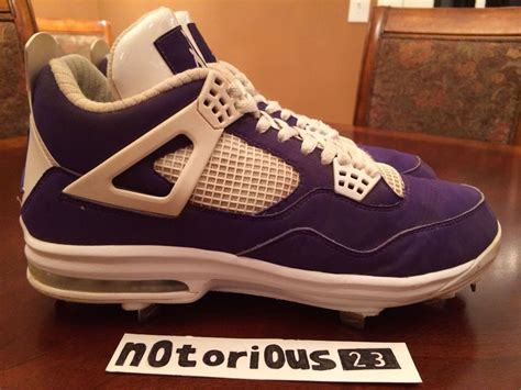 purple air jordan  cleats  sunset high baseball sole