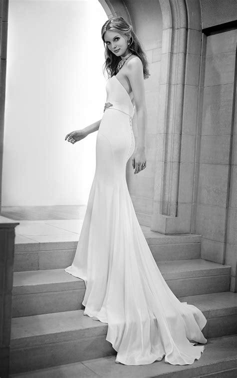 simple fitted silk sheath wedding gown martina liana