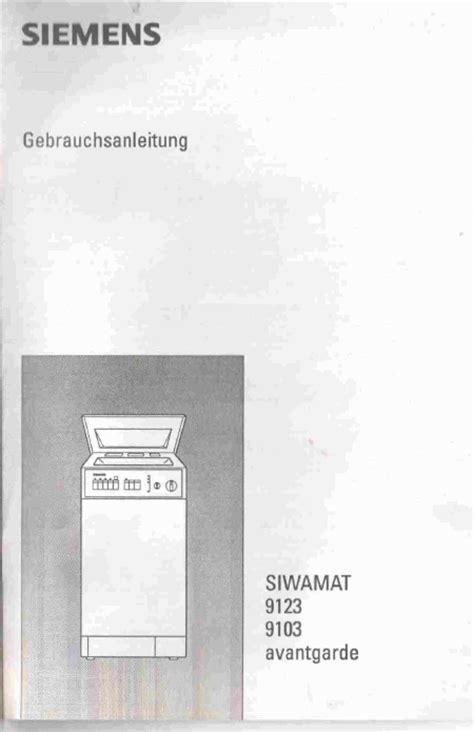siemens siwamat 9103 mode d emploi notice d utilisation manuel utilisateur t 233 l 233 charger