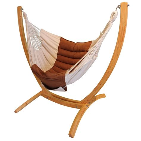 arc hanging chair stand made of larch wood