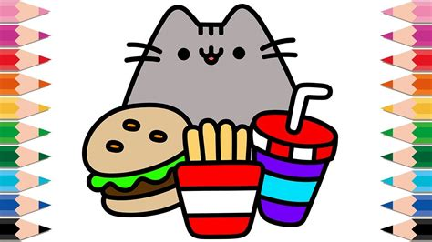 How To Draw Pusheen The Cat Step By Step Hamburger French