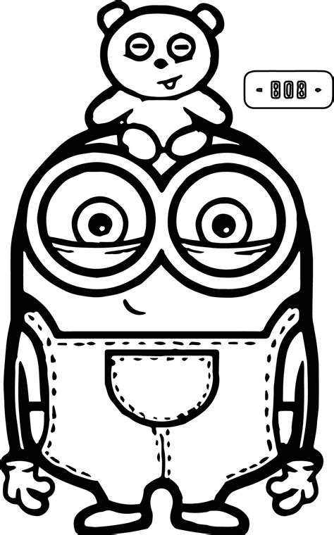 Cute Bob And Bear Minions Coloring Page Coloring