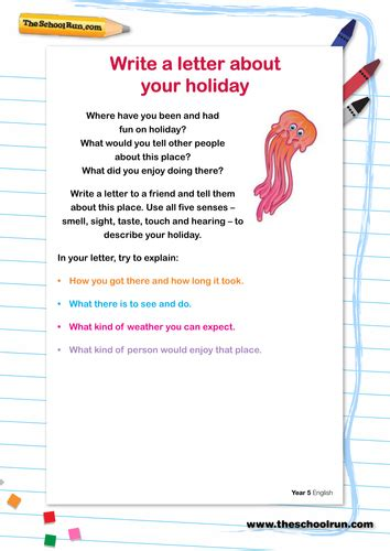 write  letter   holiday  theschoolrun