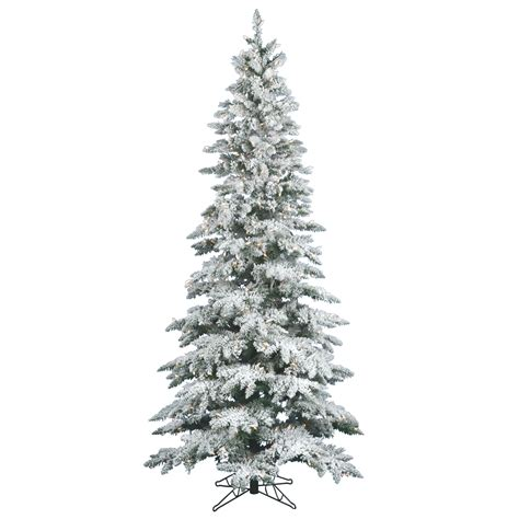 9 foot slim flocked utica fir tree clear lights a895081